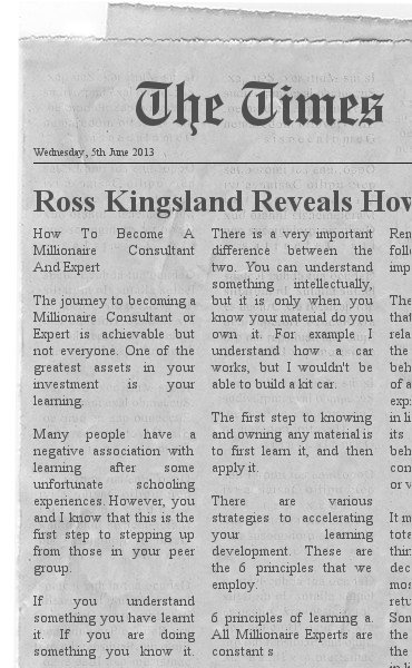 Ross Kingsland How To Become A Millionaire Expert